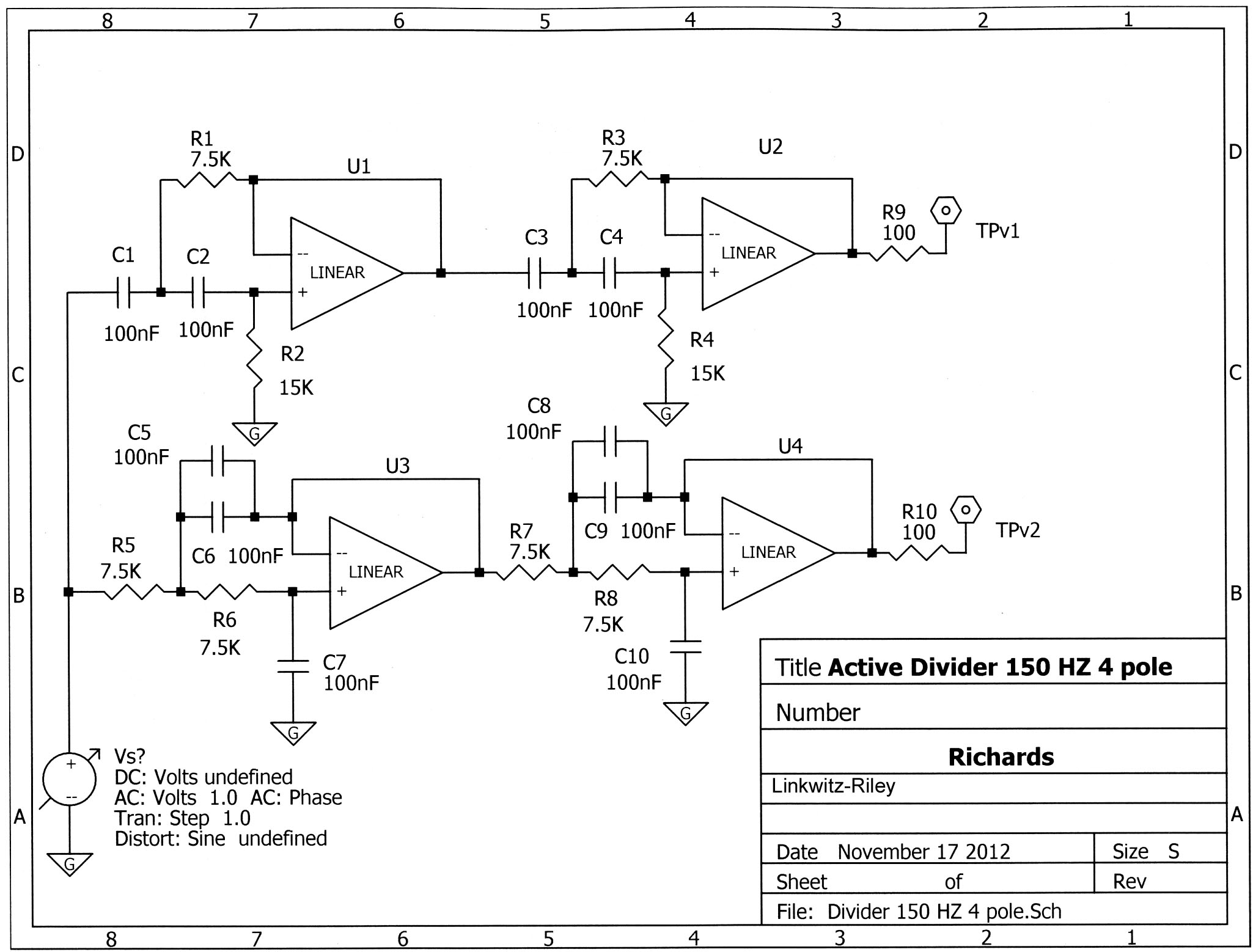 Soundbar Project Active Crossover Schematic Diagram I Never Did Get Very Good At Laplace Transforms The S Plane Where Square Root Of Negative One Lives But Was Taught How To Scale Part Values In An